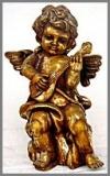 Engel steh.Gitarre,31x31x57gold Blätter