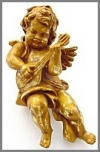 Engel steh.Gitar,25x36x56 Gold Blätter